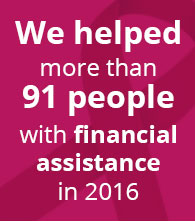 we helped more than 91 people with financial assistance in 2016