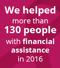 we helped more than 130 people with financial assistance in 2016