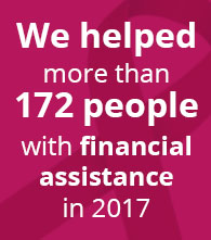 we helped more than 172 people with financial assistance so far in 2017