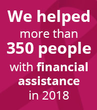 we helped more than 350 people with financial assistance so far in 2018