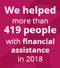 we helped more than 419 people with financial assistance so far in 2018