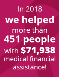 In 2018, we helped 451 people with $71,938.63 in medical financial assistance thanks to community support!
